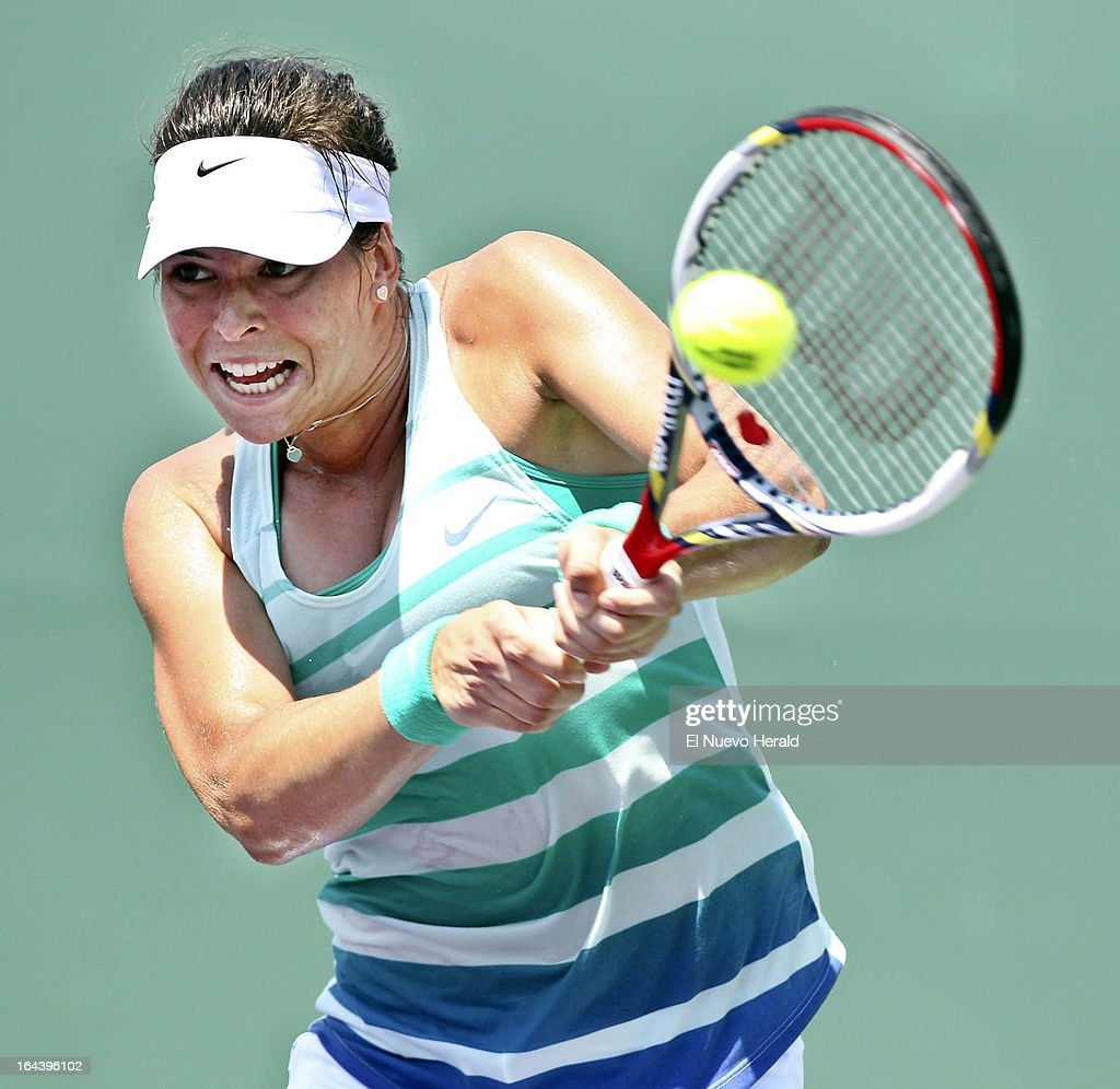Aja Tomljanovic of Croatia returns a shot against Andrea Petkovic of Germany during a third-round mactch in the women's singles at the Sony Open Tennis in Key Biscayne, Florida, Florida, Saturday, March 23, 2013. Tomljanovic defeated Petkovic, 6-0, 3-6. 7-6.