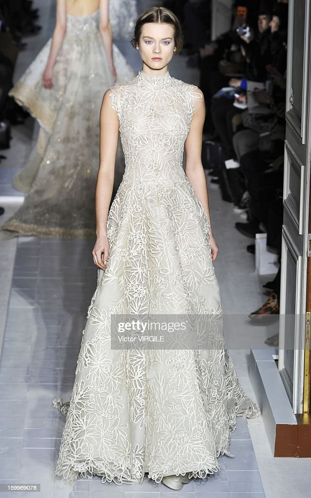 AJac walks the runway during the Valentino Spring/Summer 2013 Haute-Couture show as part of Paris Fashion Week at Hotel Salomon de Rothschild on January 23, 2013 in Paris, France.
