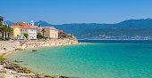 Ajaccio, Corsica island, France. Coastal cityscape panorama