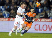 Ajaccio's Algerian midfielder Mehdi Mostefa vies for the ball against Montpellier's French midfielder Remy Cabella during the French L1 football...