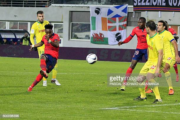 Ajaccio's Congolese forward John Tshibumbu scores a goal during the French L1 football match Gazelec Ajaccio against Nantes on December 5 at the Ange...