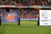 Ajaccio's flag is displayed before the French L1 football match between Troyes and Ajaccio at Aube Stadium in Troyes on August 8 2015 AFP PHOTO /...