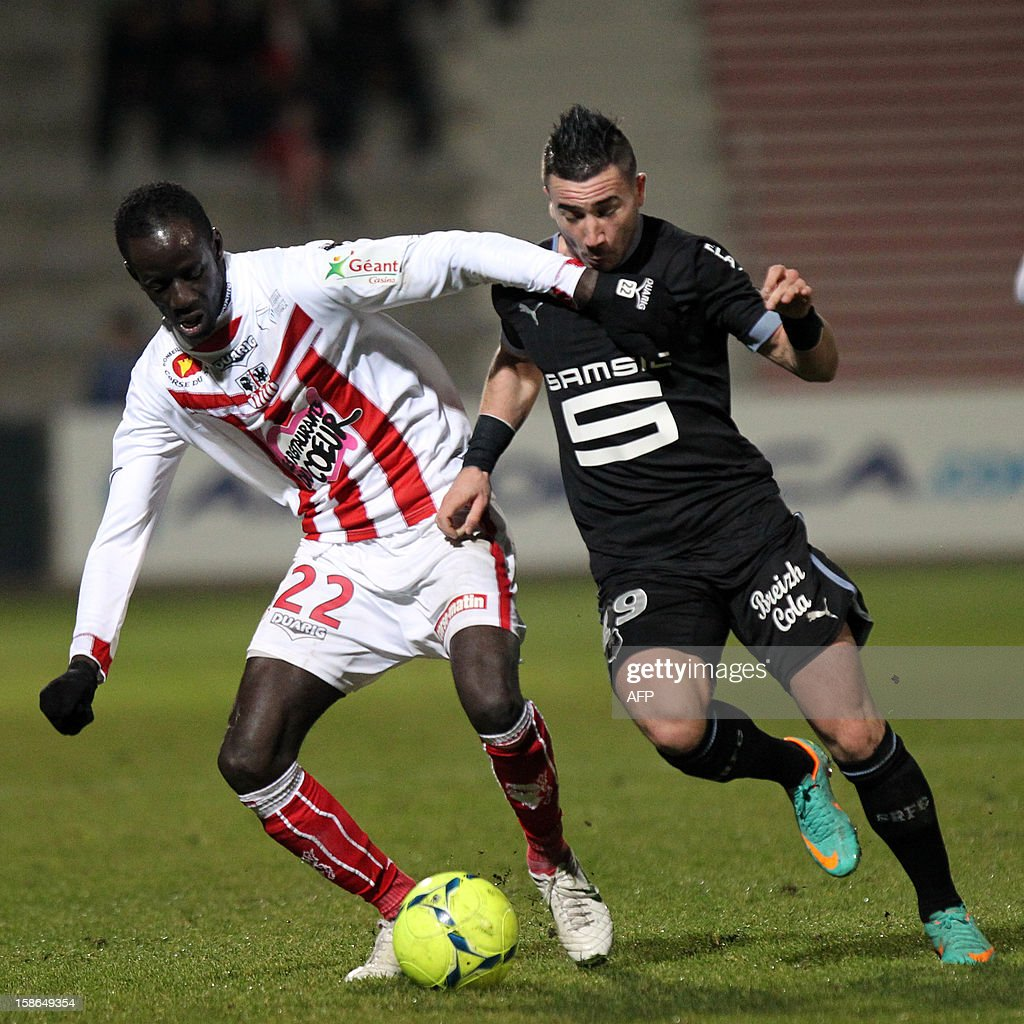 Ajaccio's Franco-Malian defender Fousseni Diawara (L) vies for the ball with Rennes' French forward Mevlut Erding during the French L1 football match between Ajaccio (ACA) and Rennes (SRFC), at the Francois Coty stadium in Ajaccio, on the French mediterranean island of Corsica, on December 22, 2012.