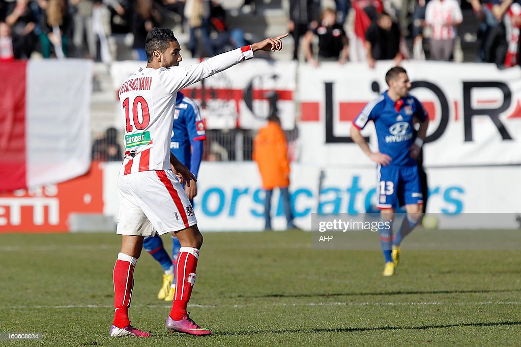 Ajaccio's Franco-Moroccan midfielder Chahir Belghazouani celebrates after scoring a goal during the French L1 football match Ajaccio (ACA) vs Lyon (OL) in the Francois Coty stadium in Ajaccio, French mediterranean island of Corsica, on February 3, 2013.
