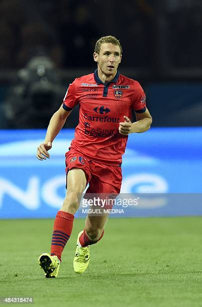 Ajaccio's French defender David Ducourtioux runs during the French L1 football match between Paris SaintGermain and GFC Ajaccio on August 16 2015 at...