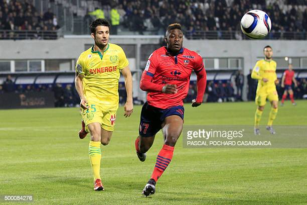 Ajaccio's French forward Kevin Mayi vies with Nantes' French midfielder Jordan Veretout during the French L1 football match Gazelec Ajaccio against...