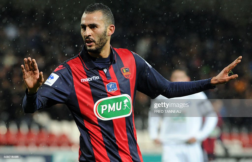 Ajaccio's French forward Khalid Boutaid jubilates after scoring during a French Cup football match between Saint-Malo and Ajaccio on February 9, 2016 at the Roudourou stadium in Guingamp, western of France. / AFP / FRED TANNEAU