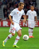 Ajaccio's French midfielder Benoit Pedretti runs with the ball during a French L1 football match Lille vs Ajaccio on October 5 2013 at the Pierre...