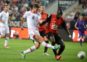 Ajaccio's French midfielder Paul Lasne vies with Rennes' French defender Cheikh Bengue during the French L1 football match between Rennes and Ajaccio...
