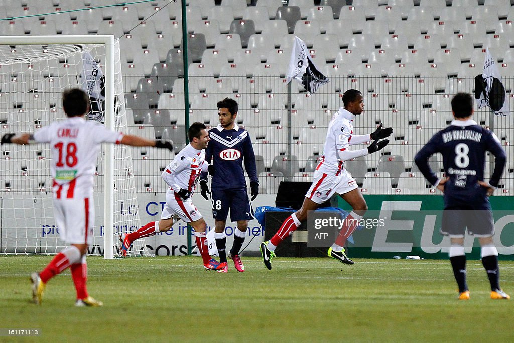 Ajaccio's French midfielder Ricardo Faty celebrates after scoring a goal during the French Ligue1 football match Ajaccio (ACA) vs Bordeaux (GDB) in the Francois Coty stadium in Ajaccio, French mediterranean island of Corsica, on February 9 , 2013.
