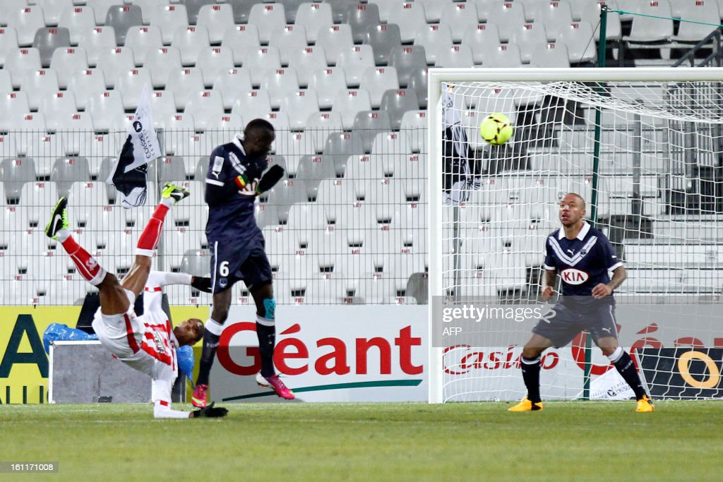 Ajaccio's French midfielder Ricardo Faty shoots and scores during the French Ligue1 football match Ajaccio (ACA) vs Bordeaux (GDB) in the Francois Coty stadium in Ajaccio, French mediterranean island of Corsica, on February 9 , 2013.