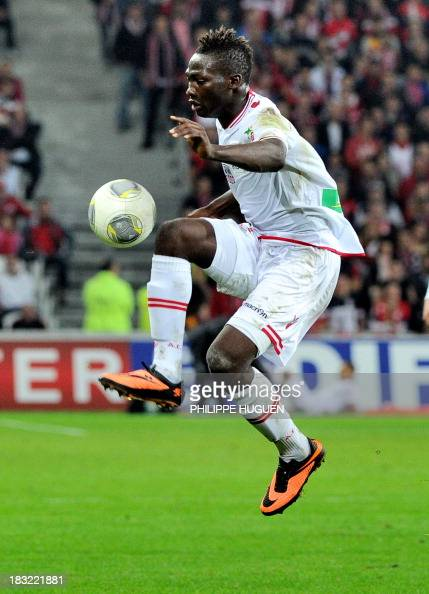 Ajaccio's Guinean forward Aboubacar Demba Camara controls the ball during a French L1 football match Lille vs Ajaccio on October 5 2013 at the Pierre...