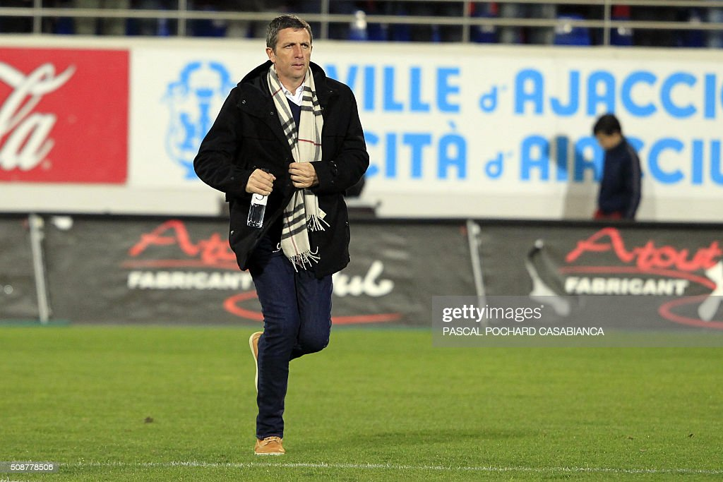 Ajaccio's head coach Thierry Laurey runs on the field before the L1 football match Gazelec Ajaccio (GFCA) against Guingamp (EAG) on February 6, 2016, at the Ange Casanova stadium in Ajaccio, on the French Mediterranean island of Corsica. AFP PHOTO / PASCAL POCHARD-CASABIANCA / AFP / PASCAL POCHARD CASABIANCA