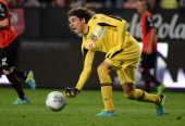 Ajaccio's Mexican goalkeeper Francisco Guillermo Ochoa Magana throws the ball during the French L1 football match between Rennes and Ajaccio on...