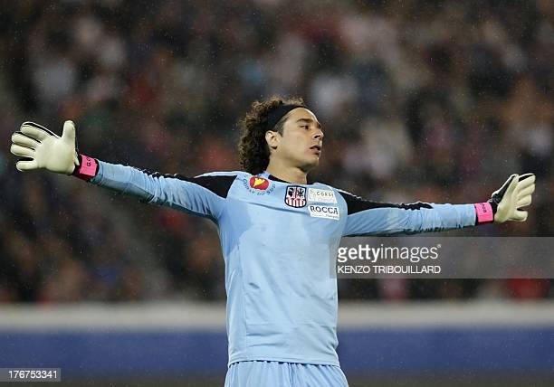 Ajaccio's Mexican goalkeeper Guillermo Ochoa aka Memo gestures during the French L1 football match between Paris SaintGermain and Ajaccio on August...