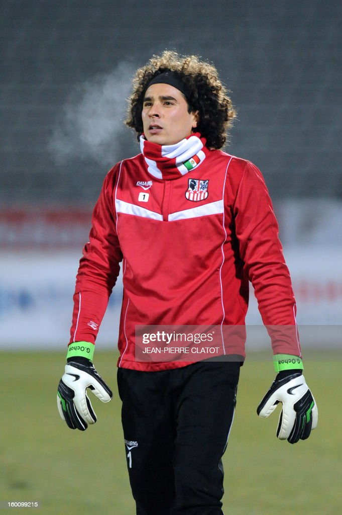 Ajaccio's Mexican goalkeeper Guillermo Ochoa is pictured before the French L1 football match Evian (ETGFC) vs Ajaccio (ACA) on January 26, 2013 at the Parc des Sports stadium in Annecy, eastern France.
