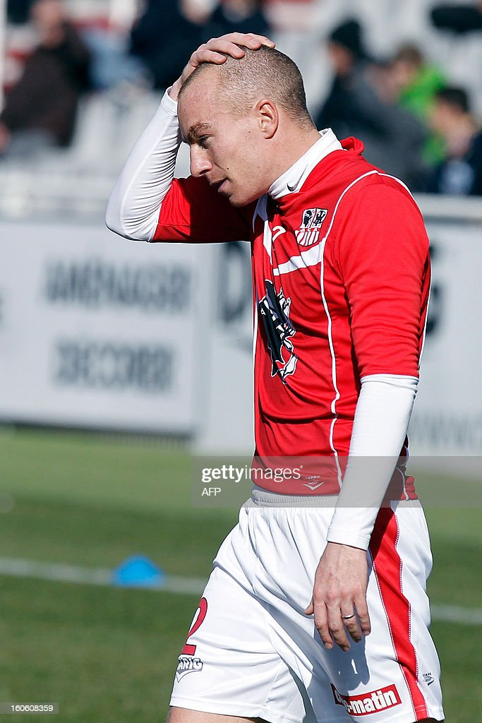 Ajaccio's new recruited French defender Matthieu Chalme is pictured before the French L1 football match Ajaccio (ACA) vs Lyon (OL) in the Francois Coty stadium in Ajaccio, French Mediterranean island of Corsica, on February 3, 2013. AFP PHOTO / PASCAL POCHARD-CASABIANCA