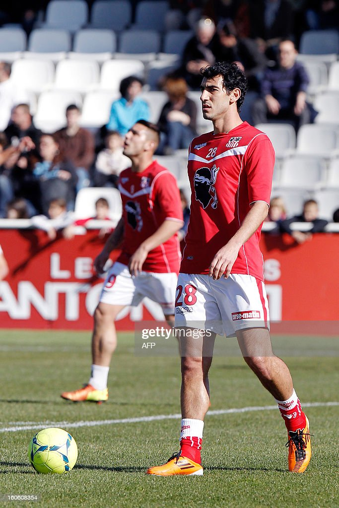 Ajaccio's new recruited Italo-Brazilian defender Felipe Saad is pictured before the French L1 football match Ajaccio (ACA) vs Lyon (OL) in the Francois Coty stadium in Ajaccio, French Mediterranean island of Corsica, on February 3, 2013.