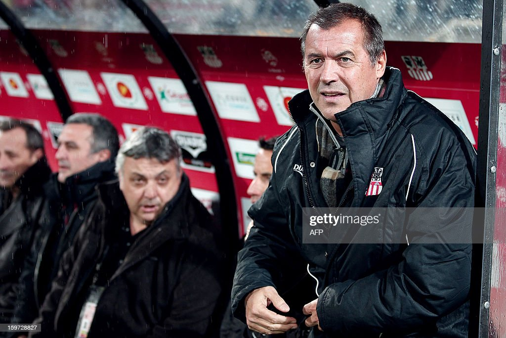 Ajaccio's newly appointed coach Albert Emon (R) is pictured before the French L1 football match Ajaccio (ACA) vs Valenciennes (VAFC) at the Francois Coty stadium in Ajaccio, French mediterranean island of Corsica, on January 19, 2013. AFP PHOTO / PASCAL POCHARD-CASABIANCA