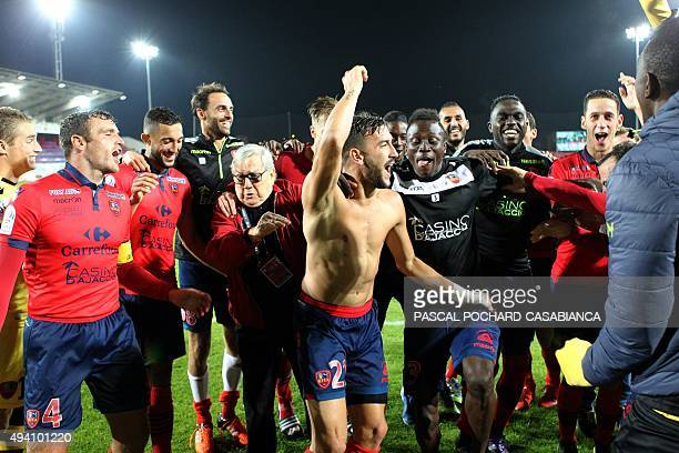 Ajaccio's players celebrate after the French L1 football match between Gazelec Ajaccio and Nice on October 24 at the Ange Casanova stadium in Ajaccio...