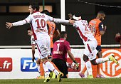 Ajaccio's players react after scoring a goal during the French League Cup football match Montpellier vs Ajaccio on October 28 2014 at the Altrad...