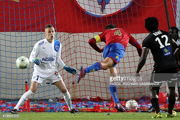 GFC Ajaccio's Roderic Filippi scores a goal during the French L2 football match between GFC Ajaccio and v Niort on May 15 2015 in Ajaccio French...