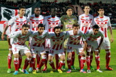 Ajaccio's team poses on May 26 2013 before a French L1 football match against Nice at the Francois Coty stadium in Ajaccio AFP PHOTO / PASCAL...
