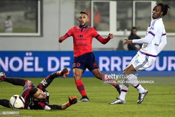 Ajaccio's Tunisian midfielder Mohamed Larbi scores a goal during the L1 football match Gazelec Ajaccio against Lyon on December 20 at the Ange...