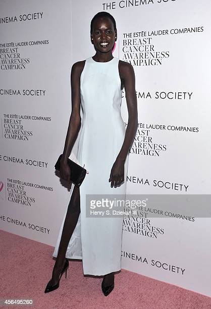 Ajak Deng attends The Estee Lauder Companies Breast Cancer Awareness Campaign and The Cinema Society special screening of 'Hear Our Stories Share...