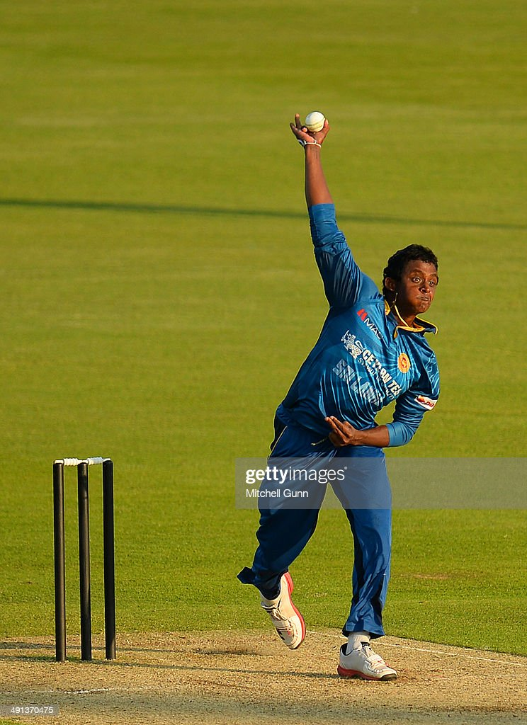 <a gi-track='captionPersonalityLinkClicked' href=/galleries/search?phrase=Ajantha+Mendis&family=editorial&specificpeople=5123004 ng-click='$event.stopPropagation()'>Ajantha Mendis</a> of Sri Lanka bowling during the one day match between The Kent Spitfires and Sri Lanka played at the St Lawrence Ground, on May 16, 2014 in Canterbury, England.