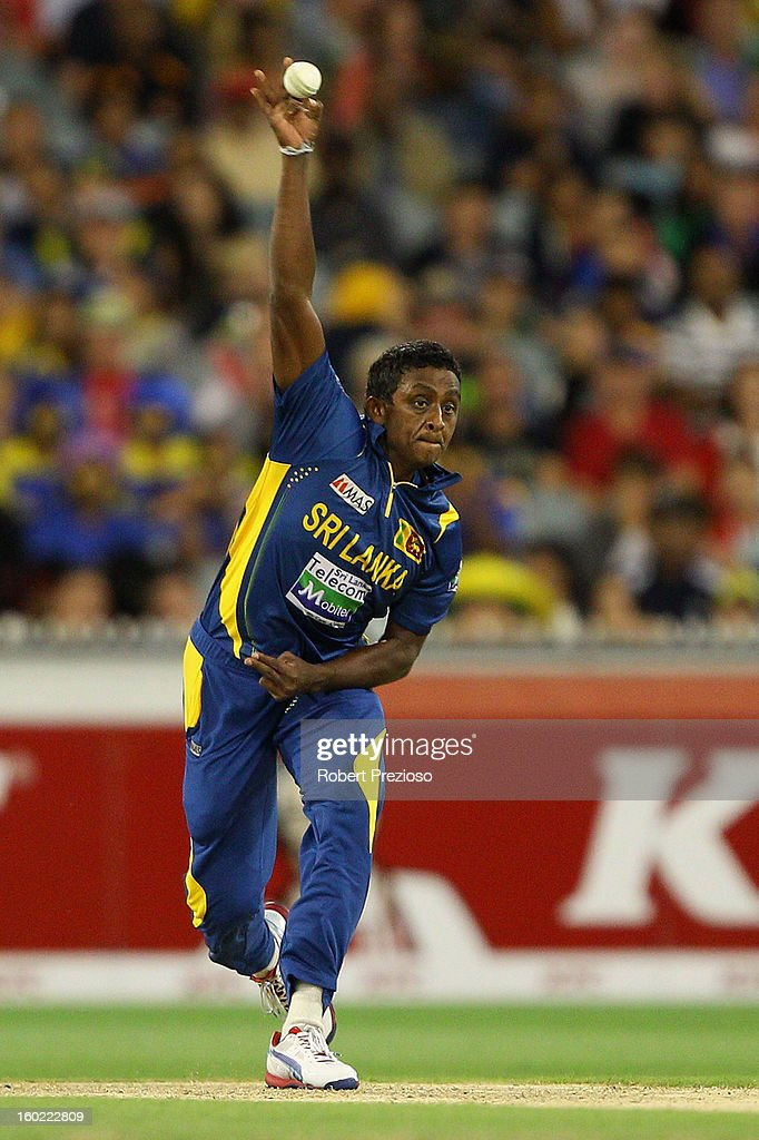 <a gi-track='captionPersonalityLinkClicked' href=/galleries/search?phrase=Ajantha+Mendis&family=editorial&specificpeople=5123004 ng-click='$event.stopPropagation()'>Ajantha Mendis</a> of Sri Lanka bowls during game two of the Twenty20 International series between Australia and Sri Lanka at Melbourne Cricket Ground on January 28, 2013 in Melbourne, Australia.