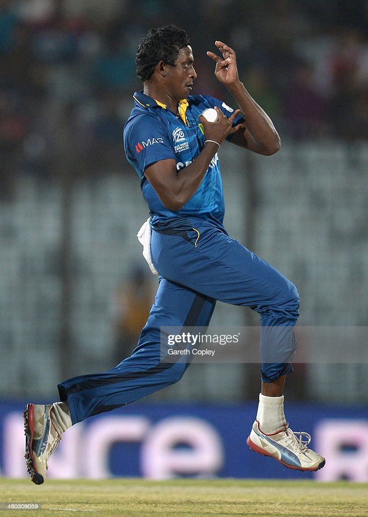 <a gi-track='captionPersonalityLinkClicked' href=/galleries/search?phrase=Ajantha+Mendis&family=editorial&specificpeople=5123004 ng-click='$event.stopPropagation()'>Ajantha Mendis</a> of Sri Lanka bowls during the ICC World Twenty20 Bangladesh 2014 Group 1 match between Sri Lanka and the Netherlands at Zahur Ahmed Chowdhury Stadium on March 24, 2014 in Chittagong, Bangladesh.