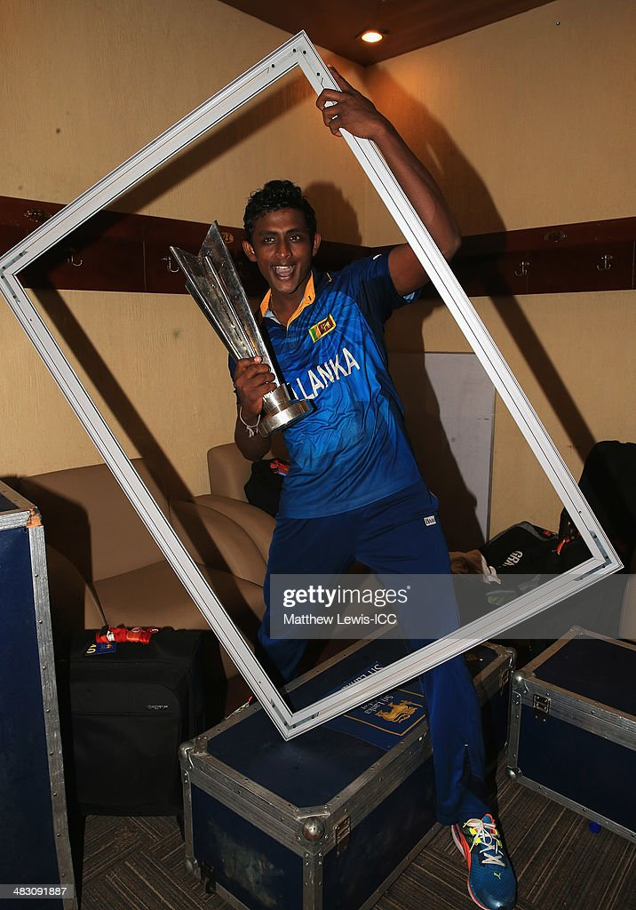 <a gi-track='captionPersonalityLinkClicked' href=/galleries/search?phrase=Ajantha+Mendis&family=editorial&specificpeople=5123004 ng-click='$event.stopPropagation()'>Ajantha Mendis</a> of Sri Lanka celebrates winning the ICC World Twenty20 Bangladesh 2014 Final between India and Sri Lanka at Sher-e-Bangla Mirpur Stadium on April 6, 2014 in Dhaka, Bangladesh.