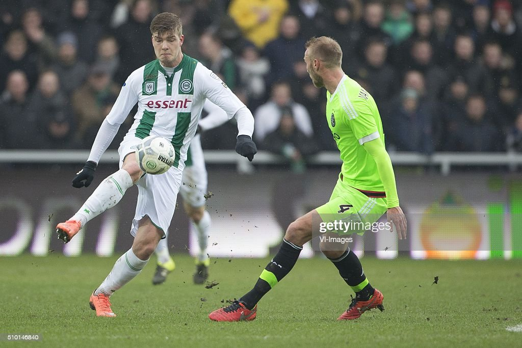 , Ajax, Alexander Sorloth of FC Groningen, Mike van der Hoorn of AFC Ajax, during the Dutch Eredivisie match between FC Groningen and Ajax Amsterdam at Euroborg on February 14, 2016 in Groningen, The Netherlands