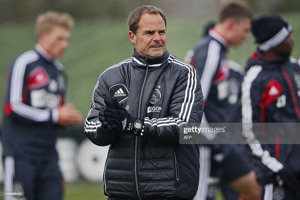 Ajax Amsterdam coach Frank de Boer attends a training session in Amsterdam on January 18, 2013 two days before their Eredivisie match against arch rival Feyenoord Rotterdam. AFP PHOTO / ANP - ED VAN DE POL - netherlands out
