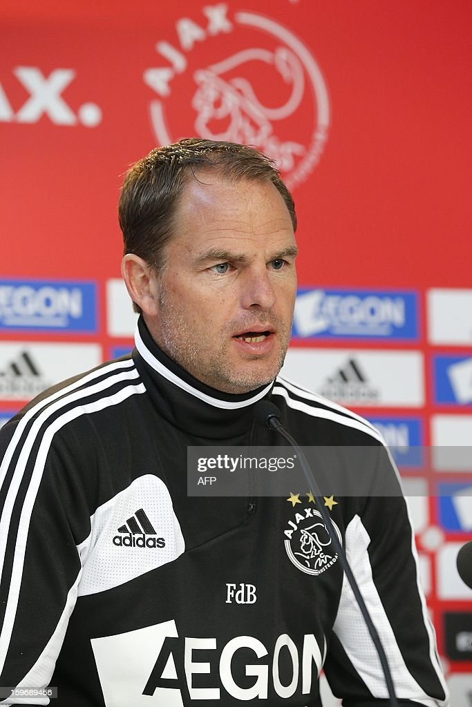 Ajax Amsterdam coach Frank de Boer gives a press conference after a training session in Amsterdam on January 18, 2013 two days before their Eredivisie match against arch rival Feyenoord Rotterdam. AFP PHOTO / ANP - ED VAN DE POL - netherlands out