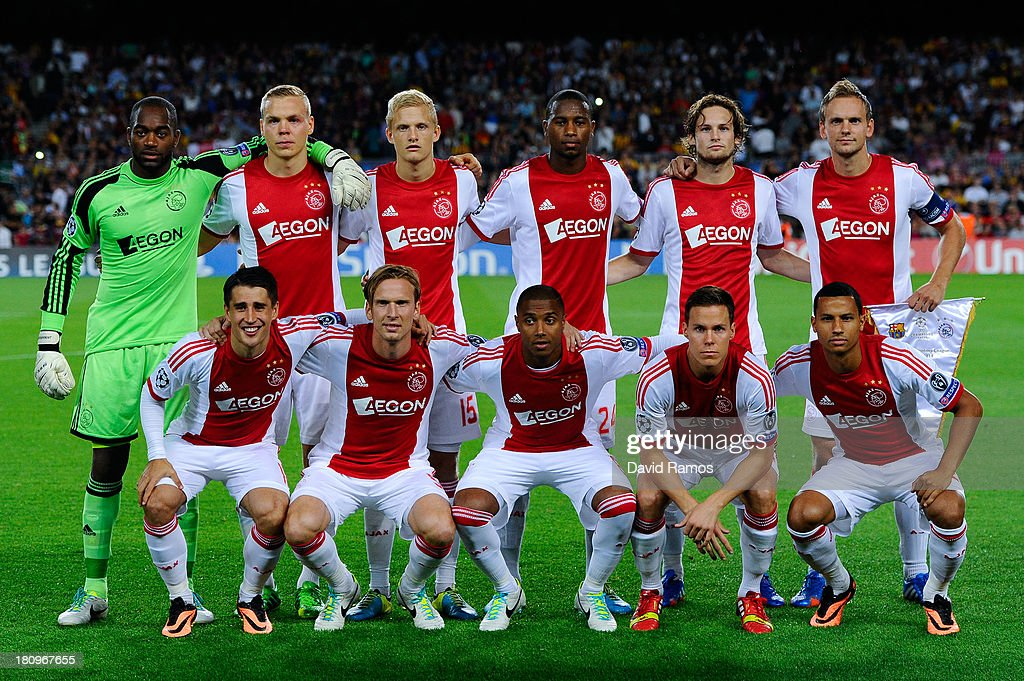 Ajax Amsterdam players pose for a photo prior to the UEFA Champions League Group H match between FC Barcelona and Ajax Amsterdam ag the Camp Nou stadium on September 18, 2013 in Barcelona, Spain.
