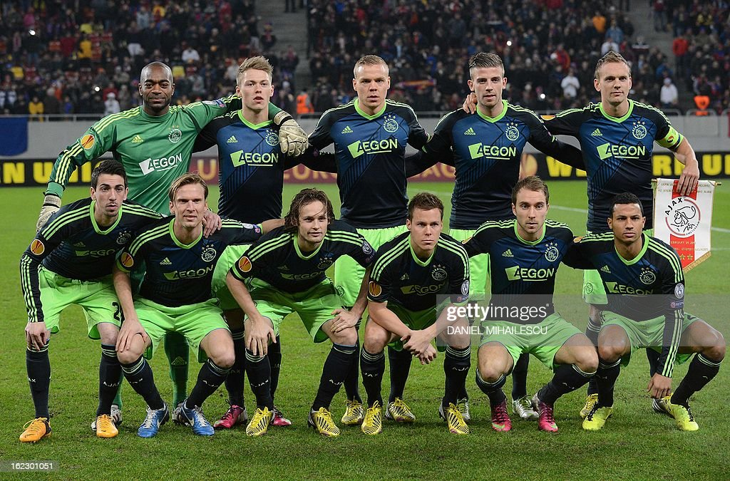 Ajax Amsterdam team pose at the beginning of match against Steaua Bucharest of UEFA Europa League Round of 32 football match in Bucharest February 21, 2013. Steaua qualifies after penaltiy kicks.