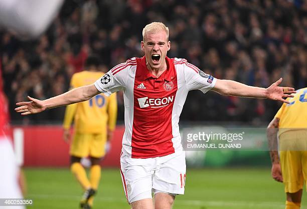 Ajax Amsterdam's Davy Klaassen celebrates after scoring during the UEFA Champions League football match Group F between Ajax Amsterdam and Apoel...