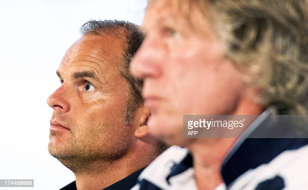 Ajax Amsterdam's Dutch coach Frank de Boer and AZ Alkmaar's Dutch coach Gertjan Verbeek give a press conference in Zeist on July 26 on the eve of the...
