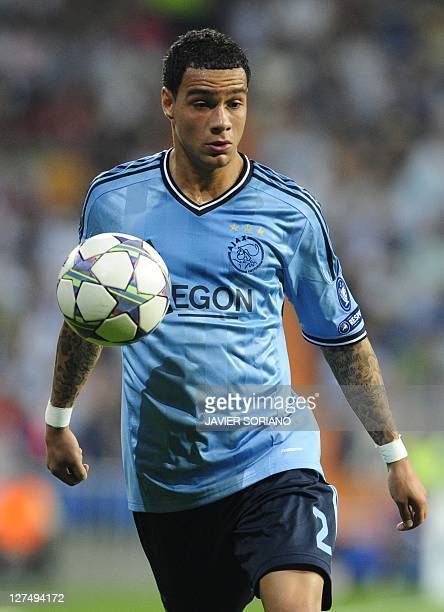 Ajax Amsterdam's Dutch defender Gregory van der Wiel controls the ball during the Champions League football match between Real Madrid and Ajax at the...