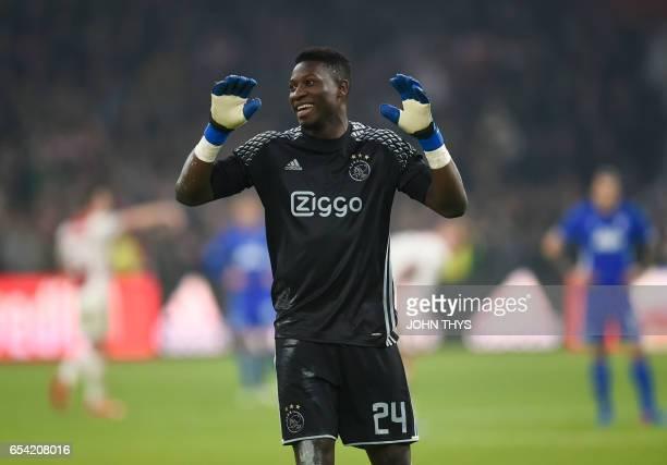 Ajax Amsterdam's goalkeeper Andre Onana reacts during the UEFA Europa League Round of 16 second leg football match Ajax Amsterdam vs FC Copenhagen on...