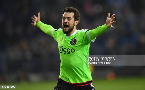 Ajax Amsterdam's midfielder Armin Younes celebrates after the UEFA Europa League 2ndleg quarterfinal football match between Schalke 04 and Ajax...
