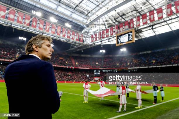 Ajax Amsterdam's technical director Edwin van der Sar keeps one minute of silence in tribute to the recently died Ajax' football player Piet Keizer...