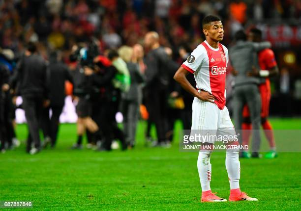Ajax Brazilian forward David Neres reacts after the UEFA Europa League final football match Ajax Amsterdam v Manchester United on May 24 2017 at the...