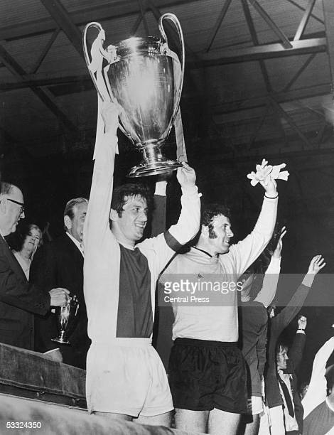 Ajax captain Velibor Vasovic lifts the European Cup at Wembley Stadium London after his team won the final against Panathinaikos 20 2nd June 1971...
