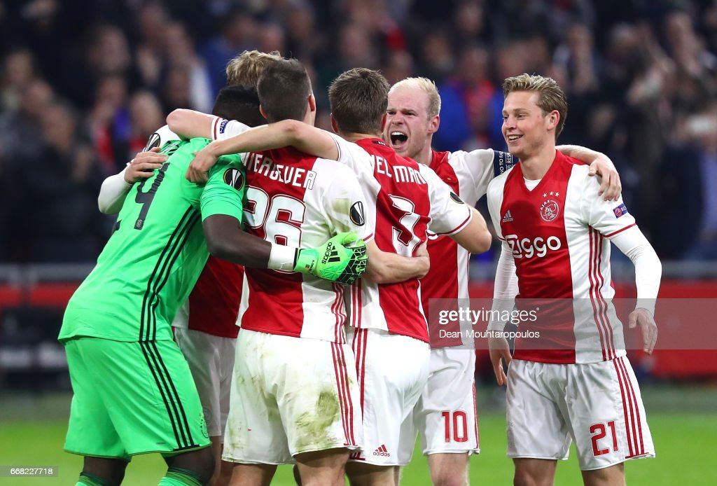Ajax celebrate after the full time whistle in the UEFA Europa League quarter final first leg match between Ajax Amsterdam and FC Schalke 04 at Amsterdam Arena on April 13, 2017 in Amsterdam, Netherlands.