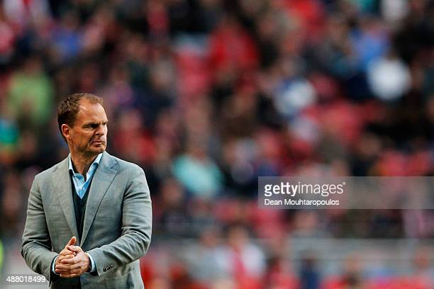 Ajax Coach / Manager Frank de Boer gives instructions to his team during the Eredivisie match between Ajax Amsterdam and NEC Nijmegen at Amsterdam...