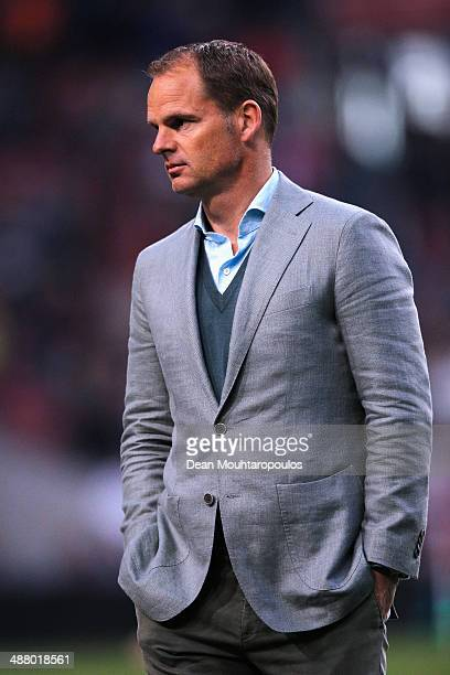 Ajax Coach / Manager Frank de Boer looks on after he speaks to the fans after the Eredivisie match between Ajax Amsterdam and NEC Nijmegen at...