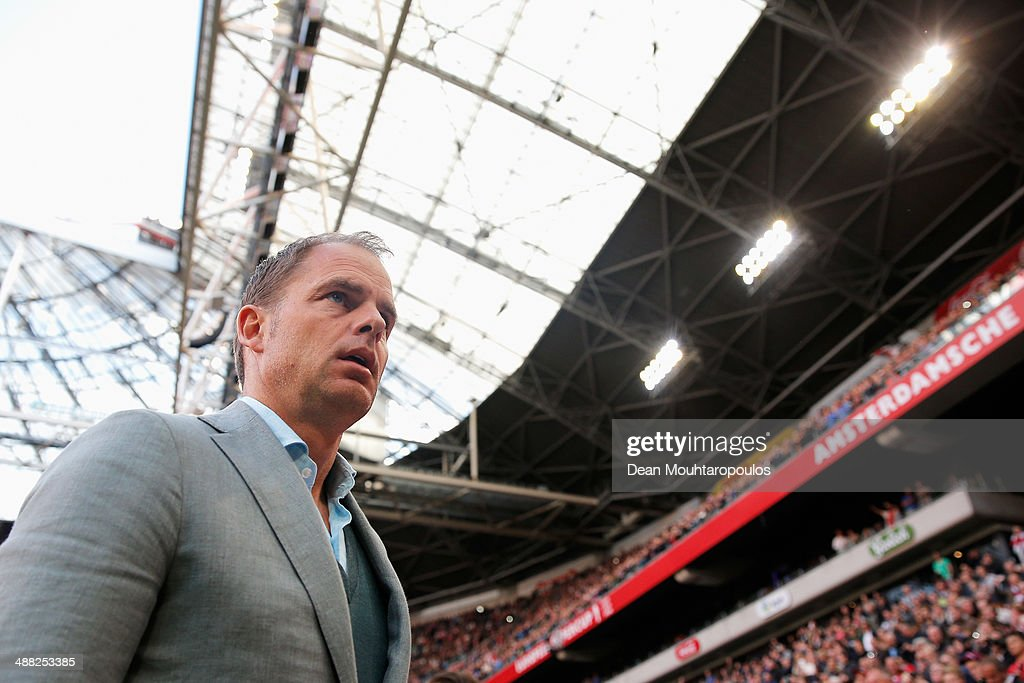 Ajax Coach / Manager, Frank de Boer looks on prior to the Eredivisie match between Ajax Amsterdam and NEC Nijmegen at Amsterdam Arena on May 3, 2014 in Amsterdam, Netherlands.